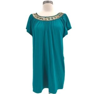 Chelsea & Theodore Beaded Teal Tunic Top